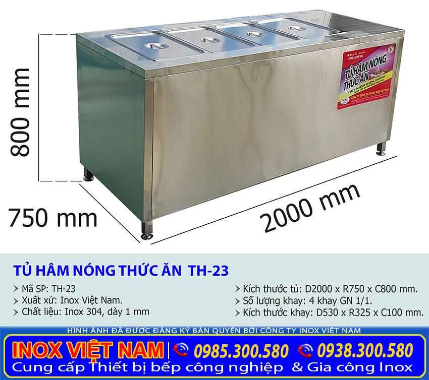Kích thước tủ hâm nóng thức ăn 4 khay TH-23