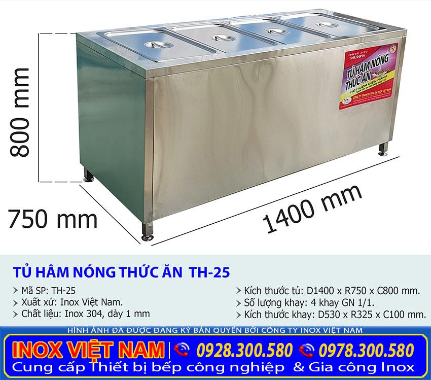 Kích thước Tủ giữ nóng thức ăn 4 khay TH-25