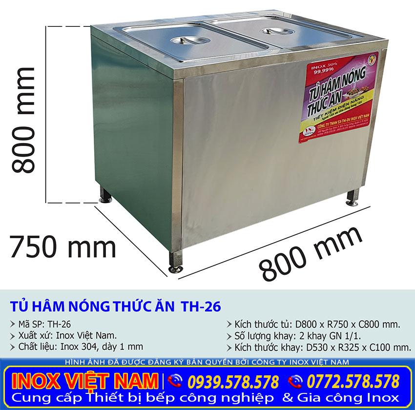 Kích thước của tủ hâm nóng thức ăn TH-26