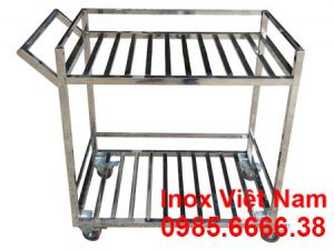 Xe đẩy inox 2 tầng thanh song