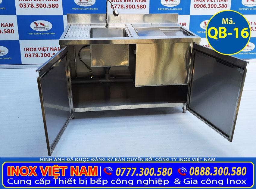 Cửa tủ và ngăn dưới của quầy pha chế inox QB-16