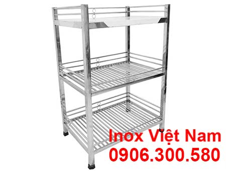 Kệ inox 3 tầng 2 song 1 phẳng