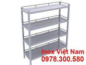 Kệ inox 4 tầng phẳng bằng inox 304
