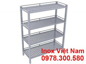 Kệ inox 4 tầng thanh song inox 304