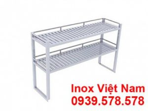 Kệ inox thanh 2 tầng