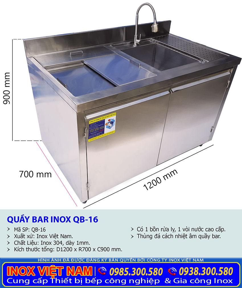 Kích thước tủ quầy bar inox QB-16