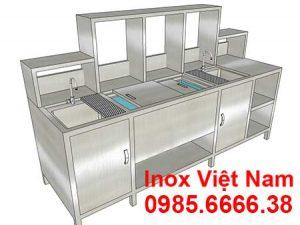 mẫu thiết kế quầy pha chế trà sữa inox