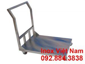 xe đẩy inox 1 tầng - xe đẩy hàng inox