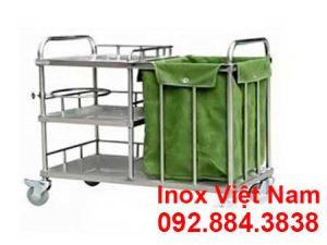 Xe đẩy y tế inox có thùng chứa rác
