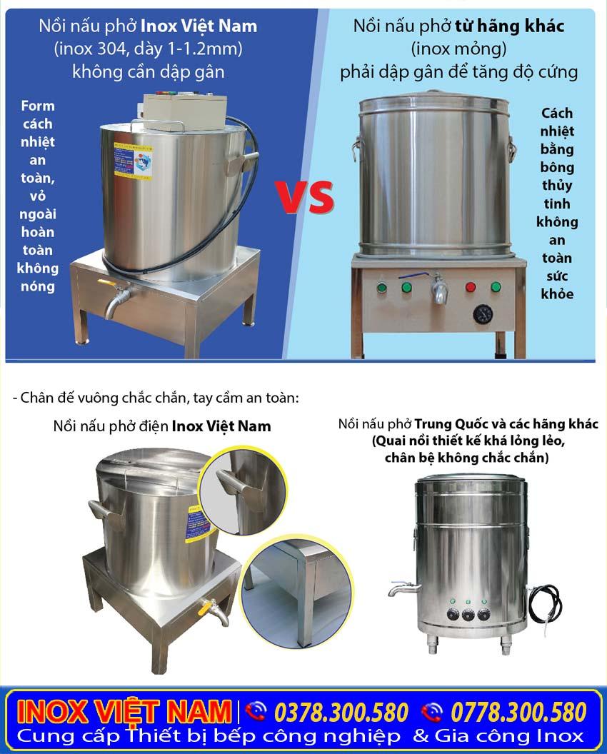So sánh nồi nấu phở Inox Việt Nam và Nồi nấu phở trên thị trường