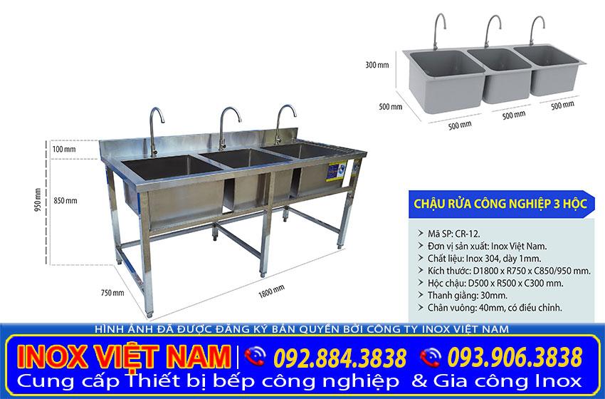 Bồn rửa chén công nghiệp 3 hố CR-12
