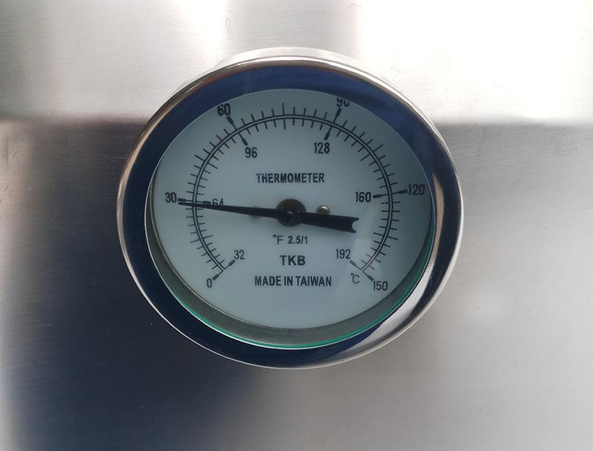 đồng hồ nhiệt của tủ hấp cơm 50kg bằng gas và điện