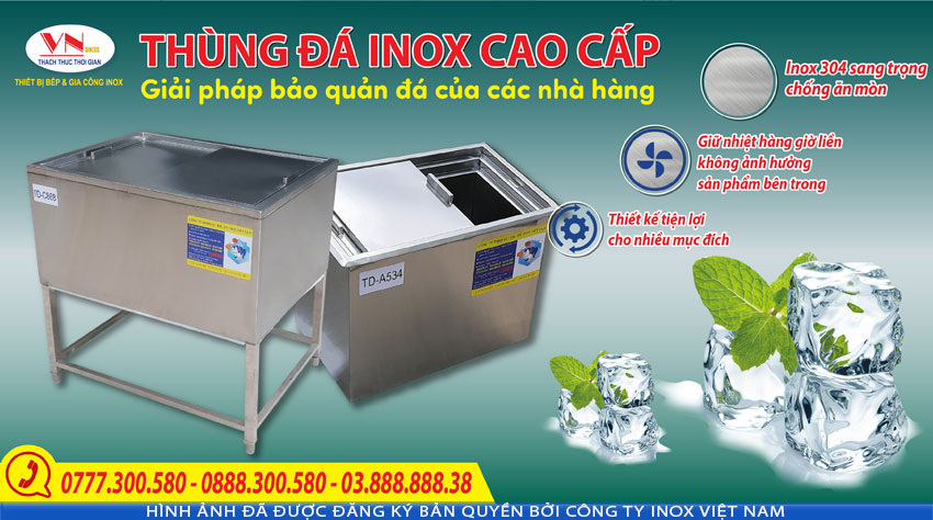 Giá bán thùng đá inox 304