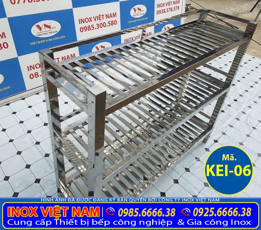 Kệ inox 3 tầng thanh song, kệ inox 3 tầng giá tốt, kệ inox 304 giá tốt được đơn vị Inox Việt Nam sản xuất theo đơn đặt hàng.