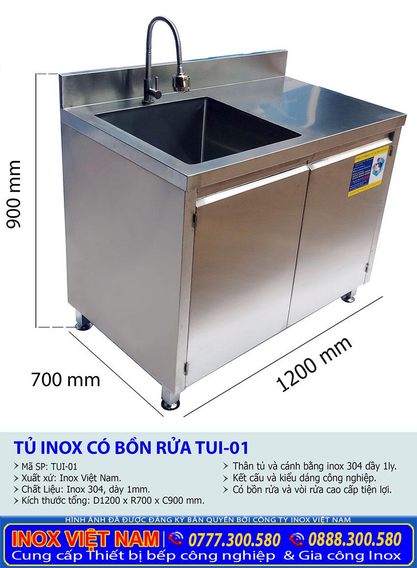 Kích thước tủ inox có bồn rửa
