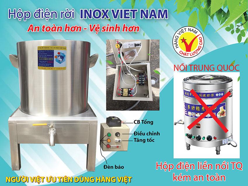nồi điện nấu phở Inox Việt Nam và Trung Quốc