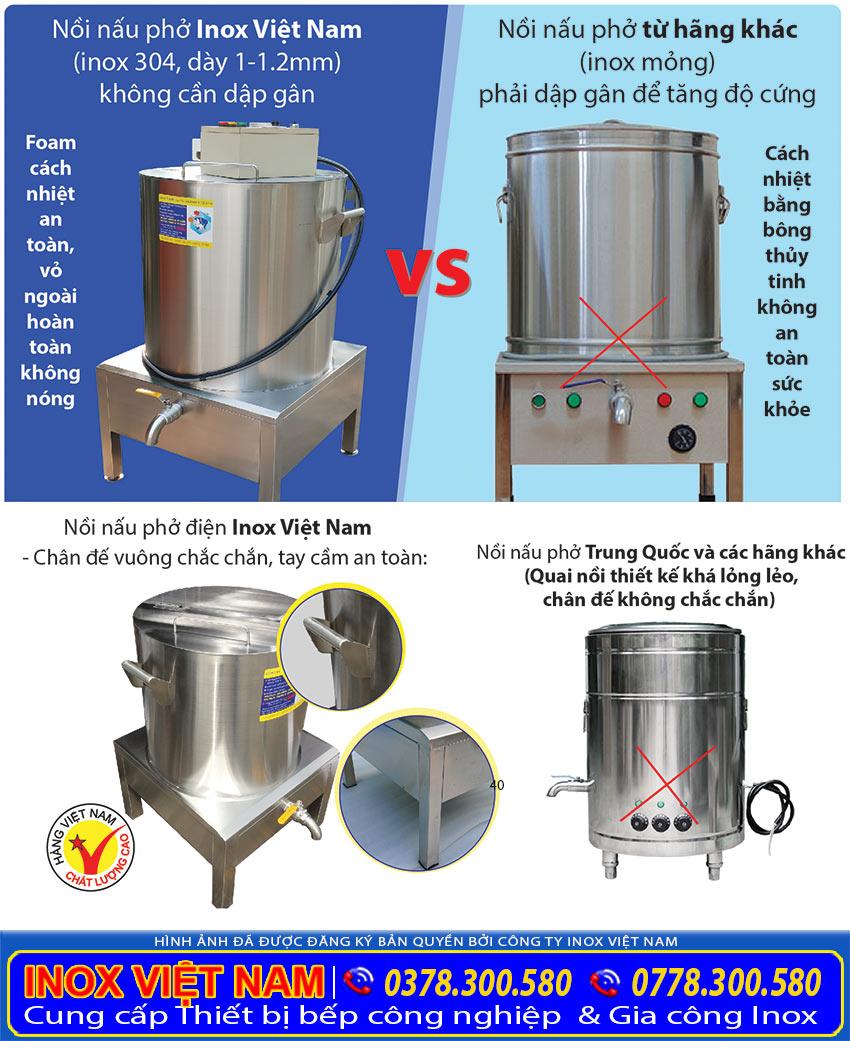 So sánh nồi nấu phở điện được sản xuất tại Inox Việt Nam và trên thị trường