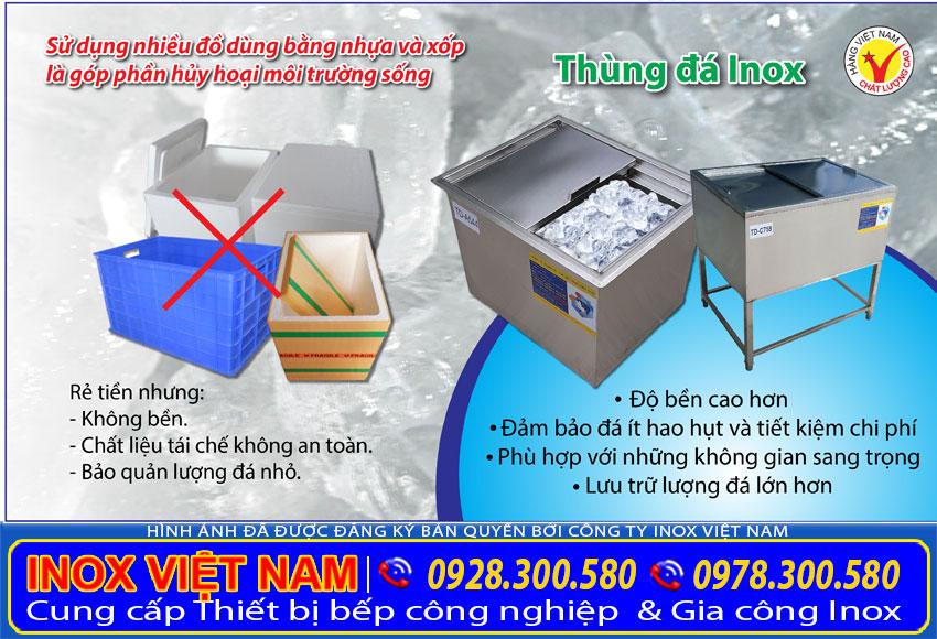 So sánh thùng đá inox 304 và thùng đựng đá bằng nhựa