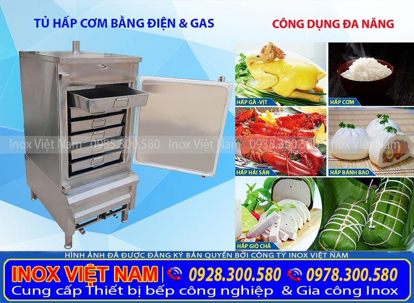 Tủ hấp cơm công nghiệp 30kg bằng gas