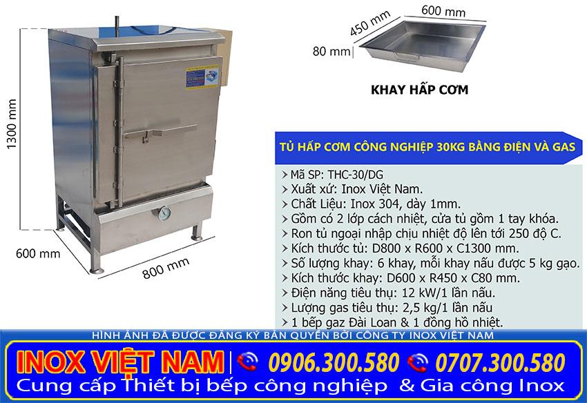tủ nấu cơm công nghiệp 30kg điện và gas