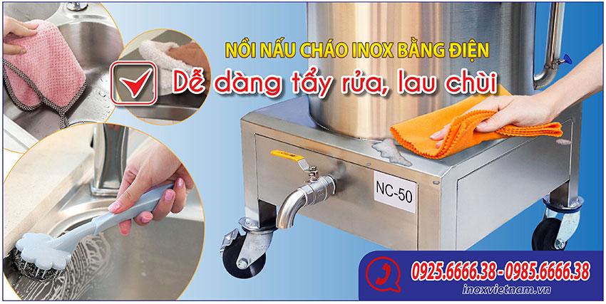 Nồi nấu cháo bằng điện vệ sinh dễ dàng