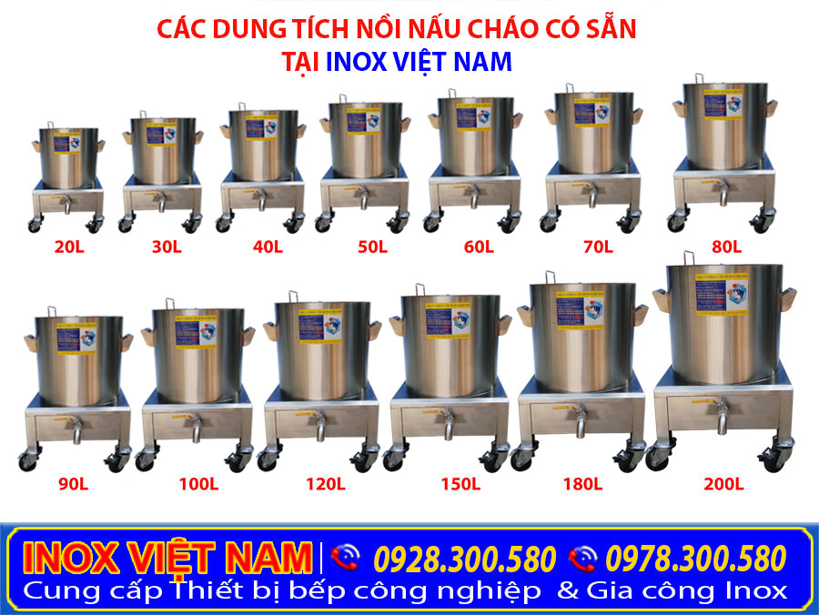các dung tích nồi nấu cháo tại Inox Việt Nam