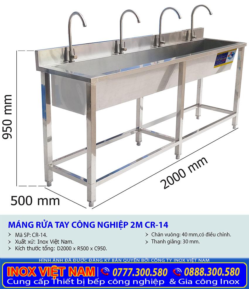 Kích thước máng rửa tay inox công nghiệp dài 2m CR-14