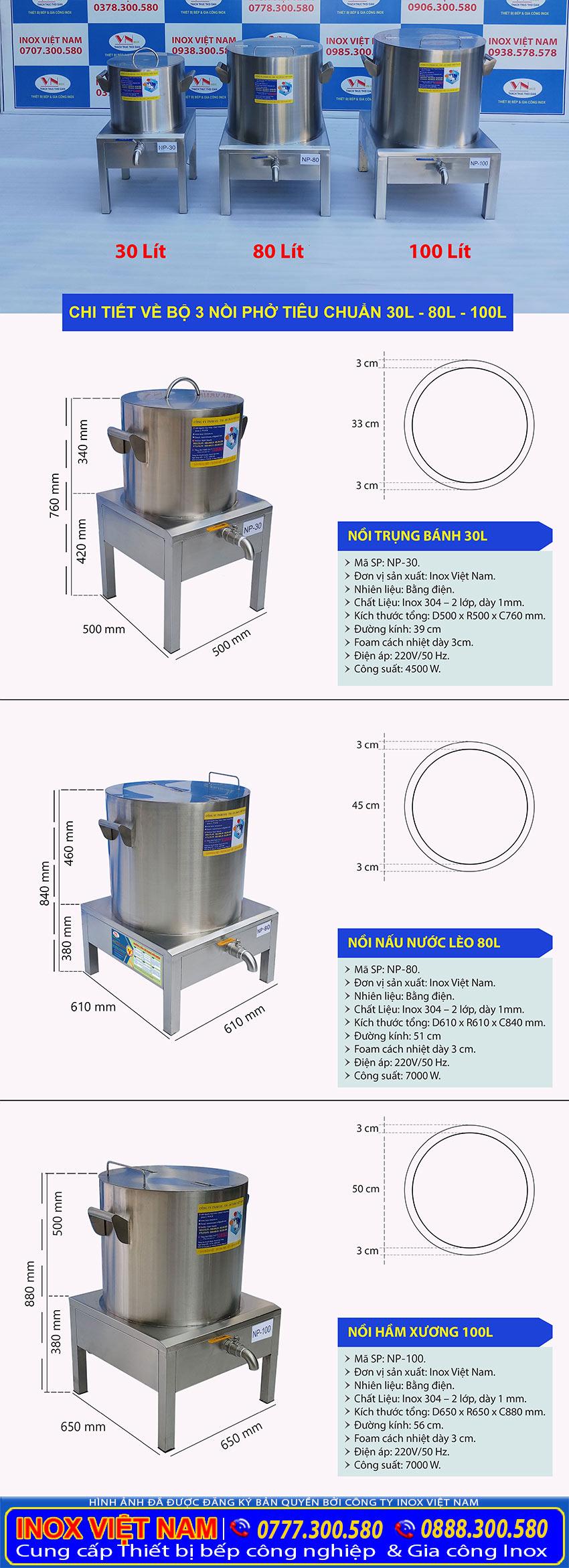 kích thước bộ nồi điện nấu phở 30L - 80L - 100L