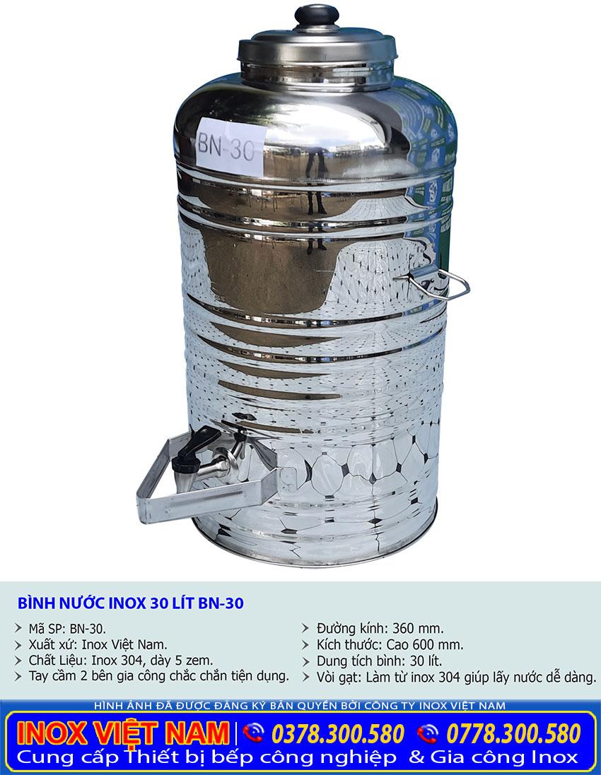 Bình đựng nước inox 30 lít có vòi