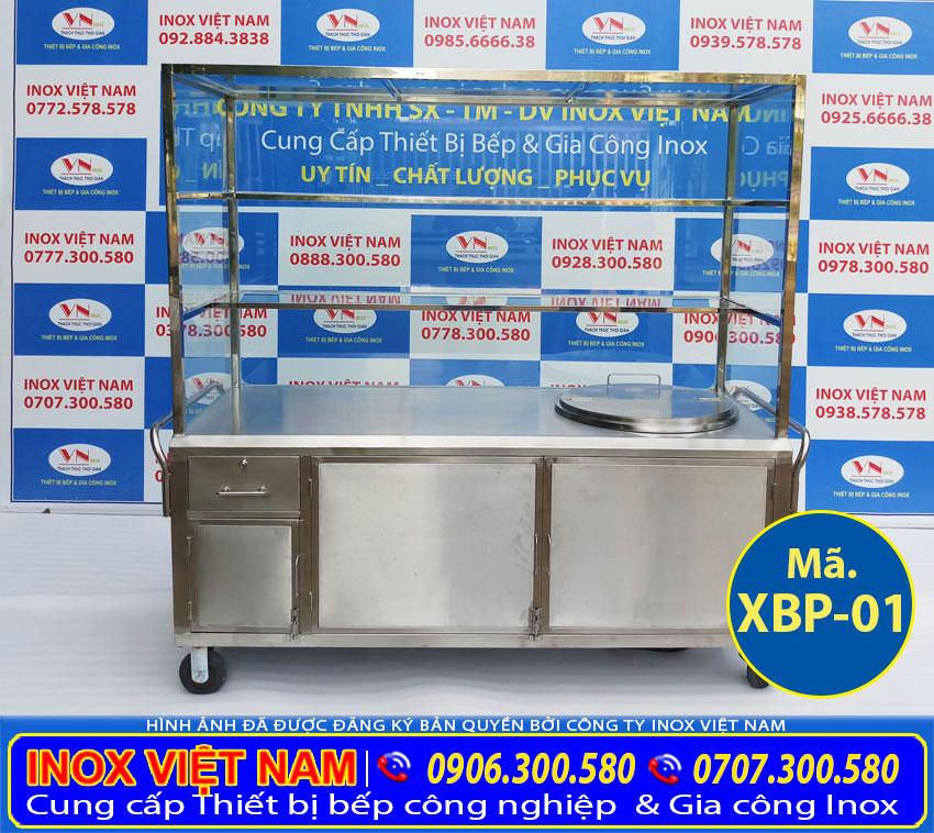 Tủ bán phở inox - tủ bán hủ tiếu inox - Tích hợp nồi nấu phở bằng điện 100 lít