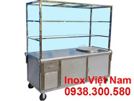xe bán hủ tiếu inox - tủ bán phở inox - nồi nấu nước lèo bằng điện
