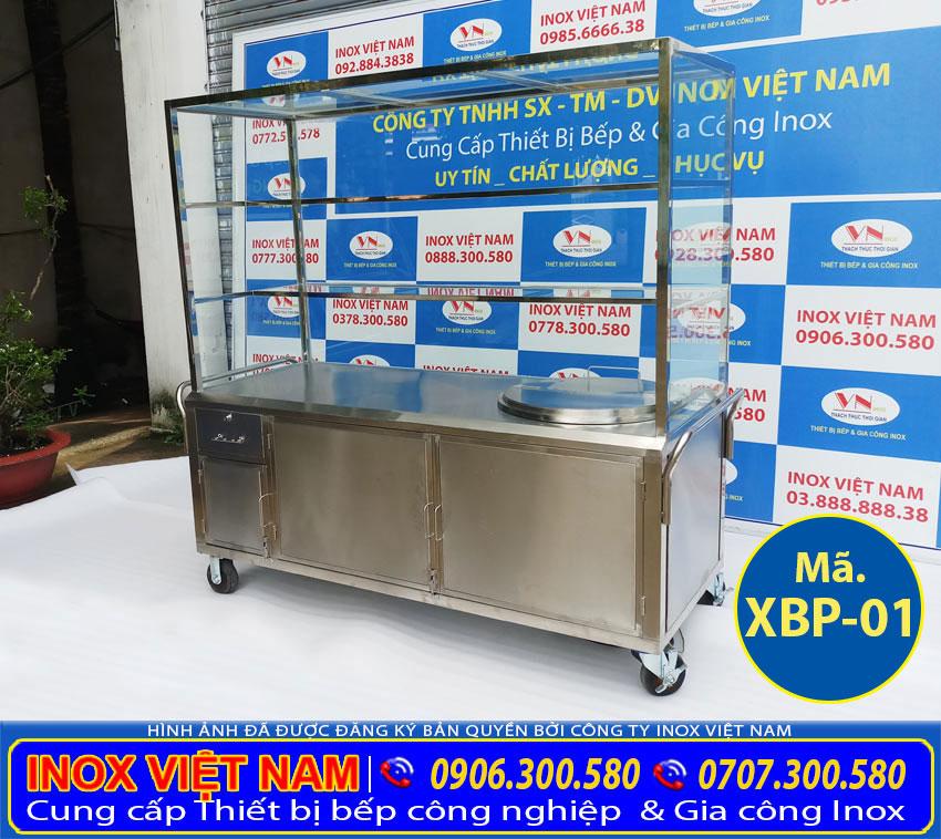 Xe bán phở inox - xe bán hủ tiếu inox - Tích hợp nồi nấu phở bằng điện 100 lít