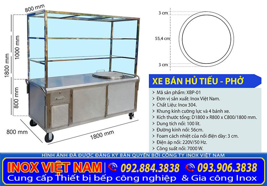 xe đẩy bán hủ tiếu inox - Tủ bán phở inox tích hợp nồi nấu nước lèo bằng điện