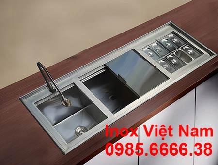 Bộ 3 thùng đá inox - chậu rửa - khay topping âm quầy QB-15