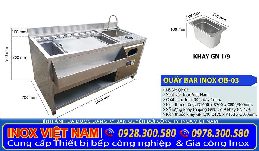 kích thước quầy bar inox 1m6 QB-03