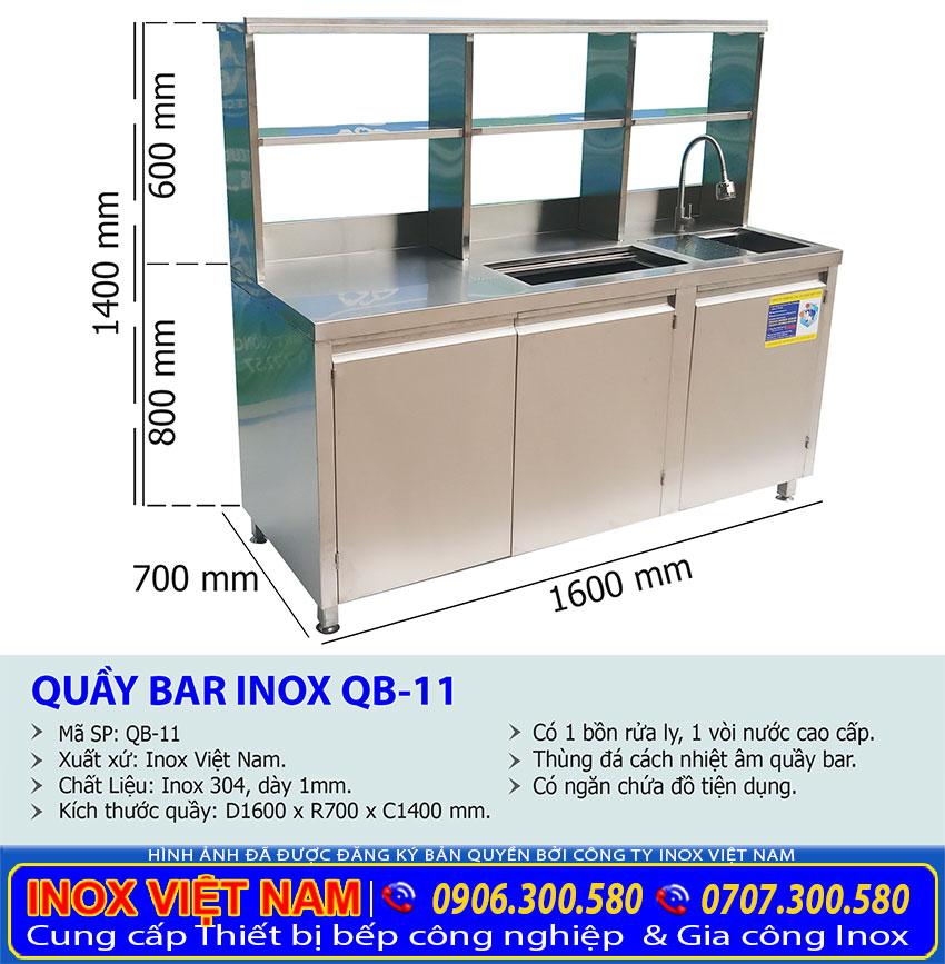 Kích thước quầy bar pha chế inox QB-11