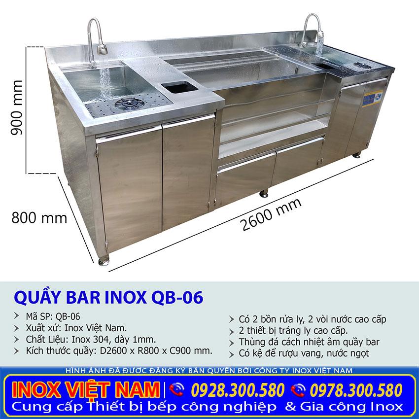 Kích thước quầy pha chế trà sữa inox QB-06
