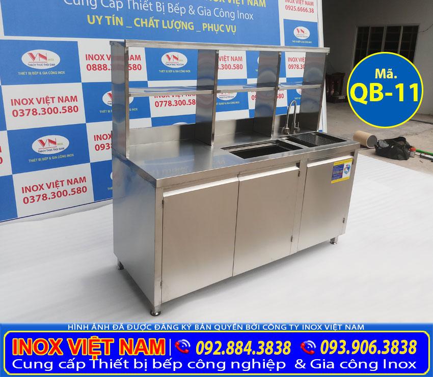 mẫu quầy bar inox trà sữa đẹp QB-11