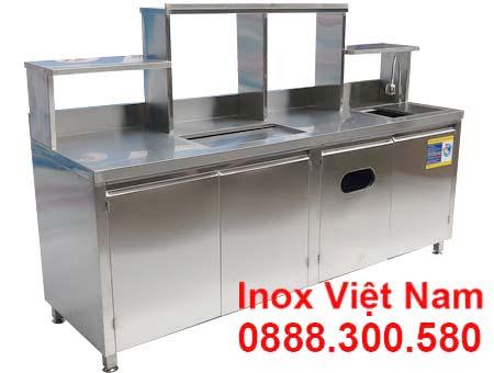 mẫu quầy pha chế inox QB-13