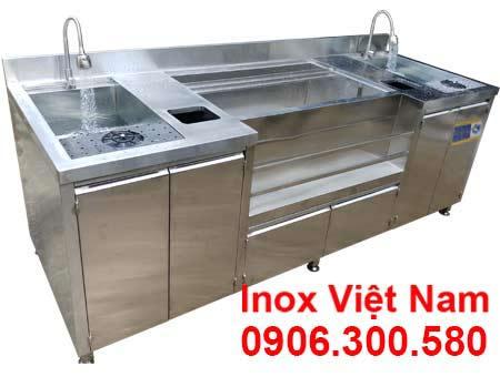 quầy pha chế trà sữa inox QB-06