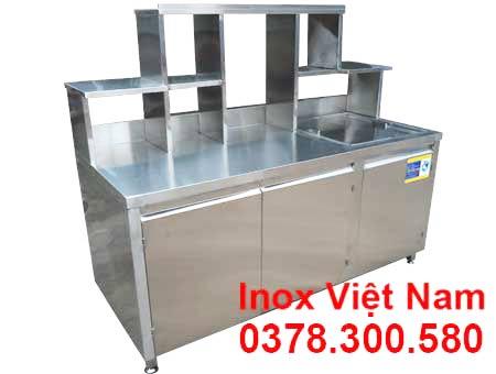 quầy trà sữa inox qb-02