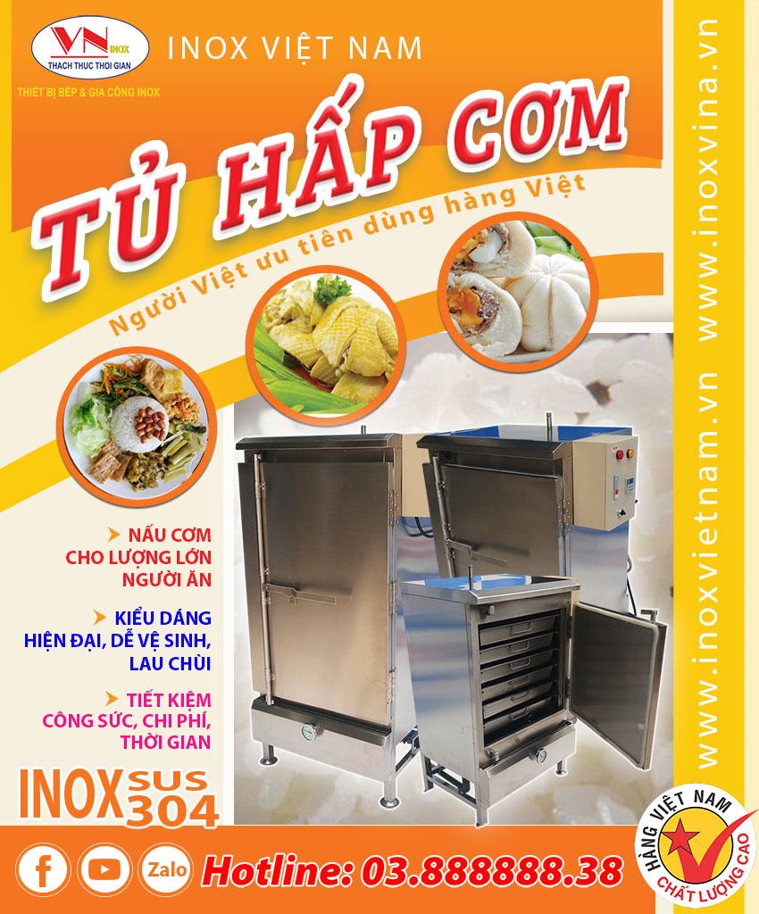 tủ hấp cơm công nghiệp bằng điện và gas Inox Việt Nam