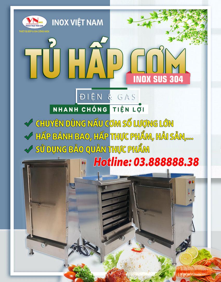 Tủ nấu cơm công nghiệp bằng điện và gas chính hãng Inox Việt Nam