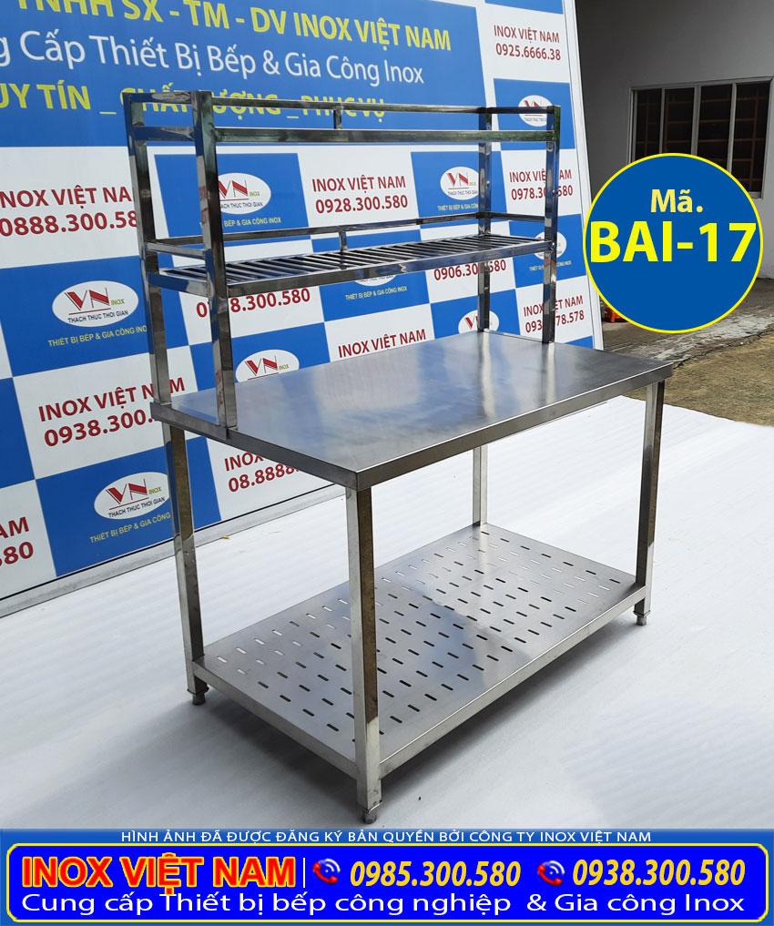 Báo giá bàn bếp inox 2 tầng có kệ trên BAI-17