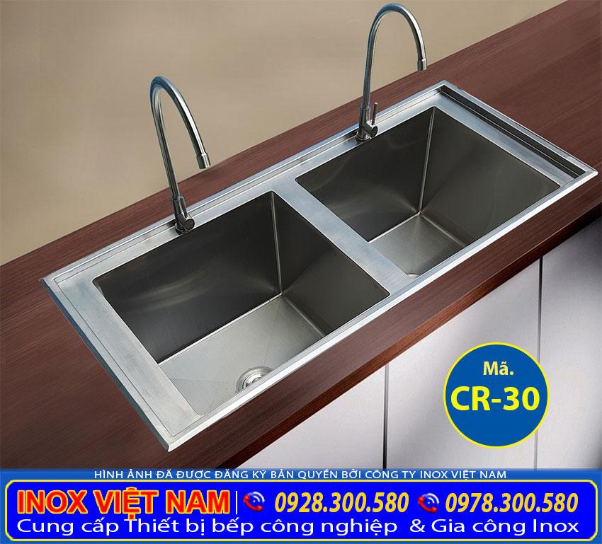 Chậu rửa âm bàn 2 hộc inox 304 CR-30