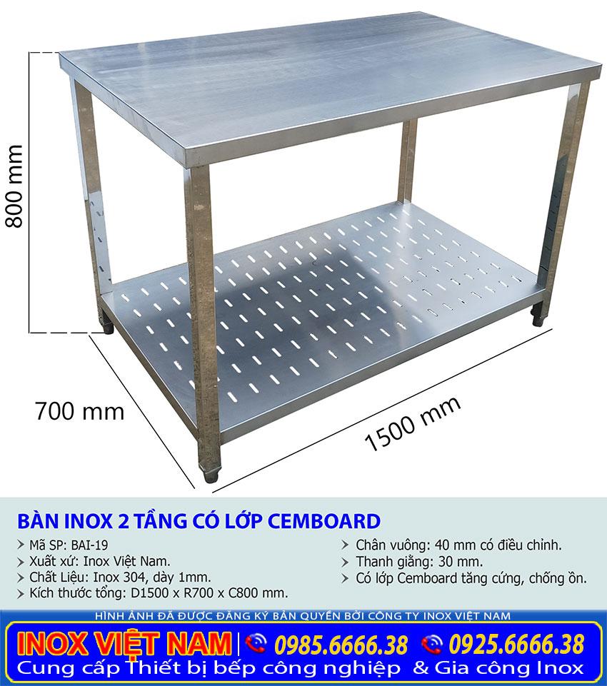 Kích thước bàn chặt inox 2 tầng có lot Cemboard tăng cứng