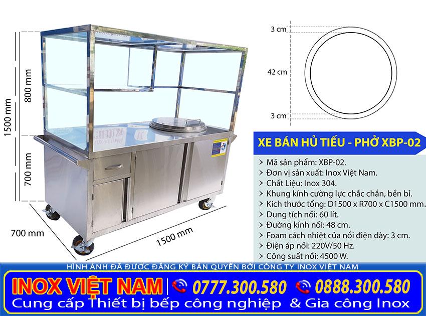 Kích thước xe bán hủ tiếu inox - Xe bán phở inox có nồi nấu nước lèo bằng điện 60 Lít