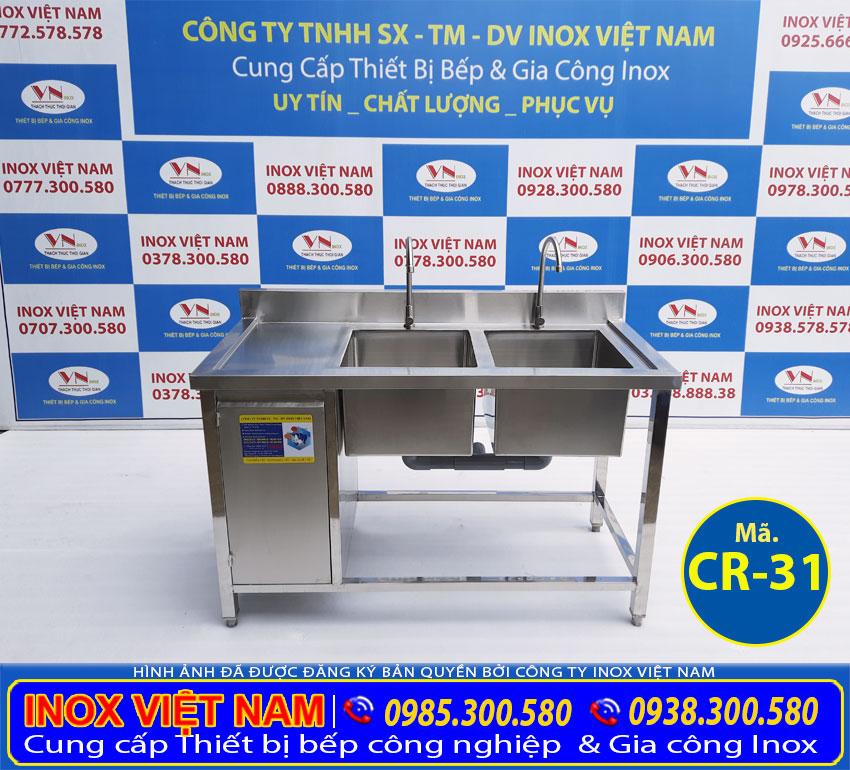 Tủ bồn rửa chén 2 hộ inox 304 CR-31