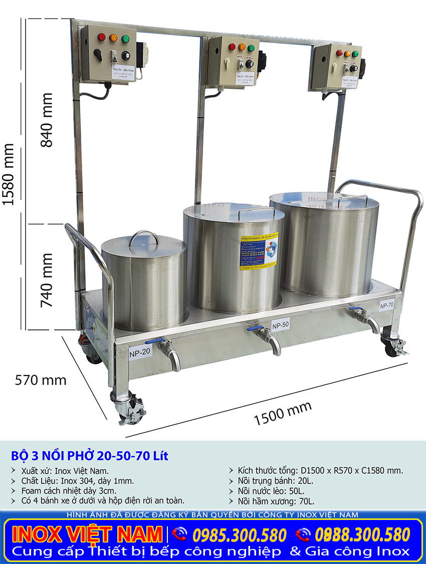 Kích thước bộ nồi nấu phở bằng điện 20-50-70-lit