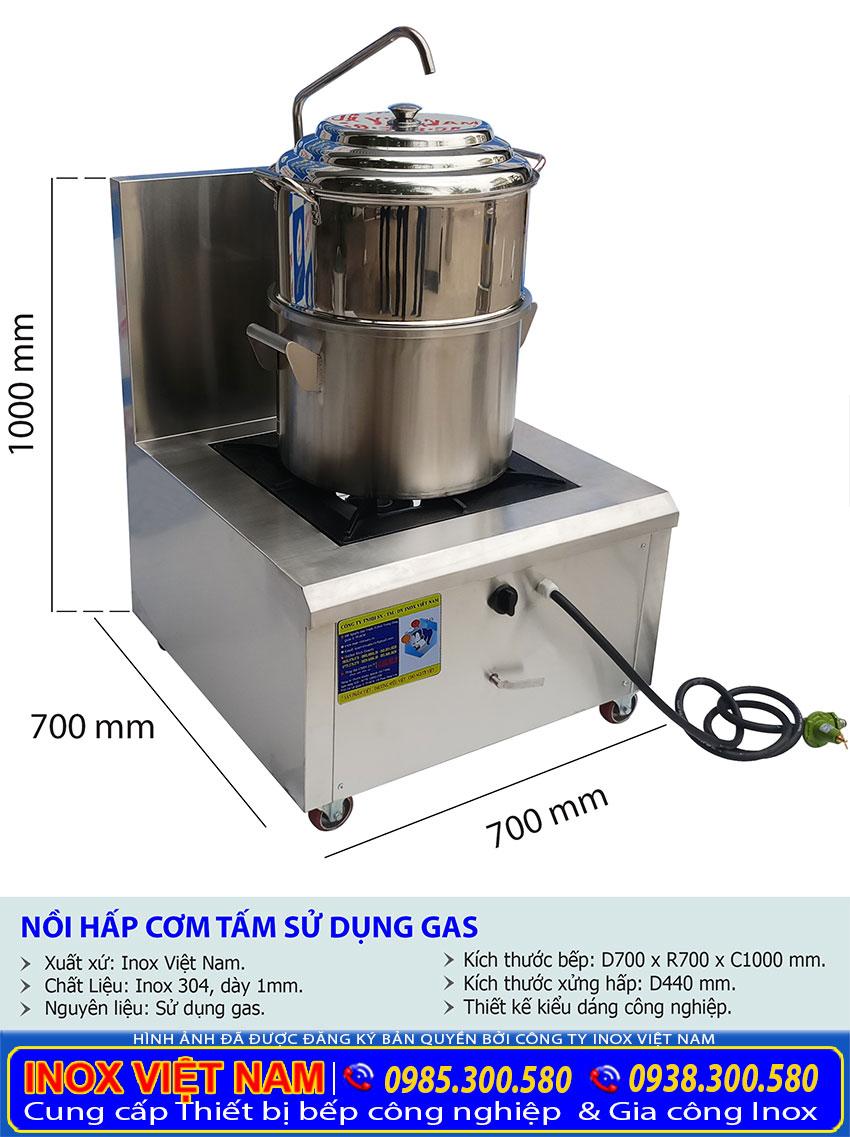 Kích thước Bộ Bếp và Nồi Hấp Inox Công Nghiệp Dùng Gas
